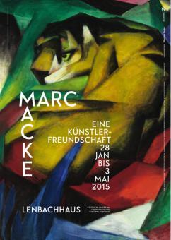 August Macke und Franz Marc. Eine Künstlerfreundschaft - Ausstellungsplakat mit Tiger von Marc (mit Text).