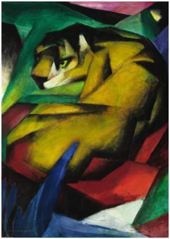 August Macke und Franz Marc. Eine Künstlerfreundschaft - Ausstellungsplakat mit Tiger von Marc (ohne Text).